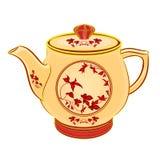 Teekannenteil Porzellan Whit-Rotblumen Stockfoto