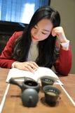 Teekunst von China, von Getränktee und von gelesenem Buch Stockbilder