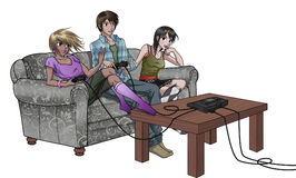 Teems Playing Video Games. Young ones playing console video games and having fun Stock Photos