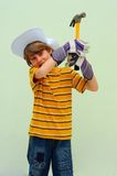 Teen. Holding Steel Hammer With Wooden Handle Stock Photos