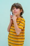 Teen. Boy Relax By Talking On Wireless Telephone Royalty Free Stock Image