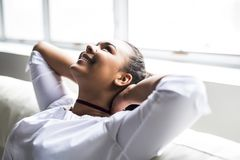 Teen african young woman relaxing at home Stock Photo