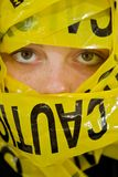 Teen Age Girl with Caution Tape Royalty Free Stock Photos