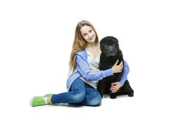 Teen age girl with dog Royalty Free Stock Photo