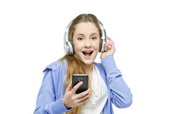 Teen age girl with headphones Stock Photos