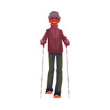 Teen-aged black boy with ski and poles. Cartoon vector illustration  on white background. Full height portrait of African Amercian teenage skier, fun winter Stock Photos