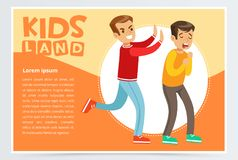Teen aggressive boy bullying classmate, demonstration of school teenage. Bullying and aggression towards other child, kids land banner flat vector element for Royalty Free Stock Images