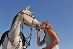 Teen and arabian horse Royalty Free Stock Photos