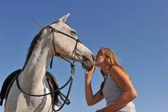 Teen and arabian horse Royalty Free Stock Photos