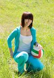 Teen athlete with volleyball stock photo