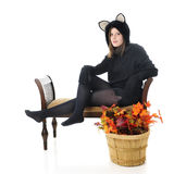 Teen Autumn Cat Stock Photography