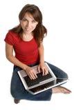 teen bärbar datordeltagare royaltyfria bilder