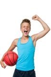 Teen basketball player with winning attitude. Stock Image
