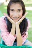 Teen beautiful girl pink shirt Denim Shorts Royalty Free Stock Images