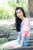 Teen beautiful girl pink shirt Denim Shorts Stock Image