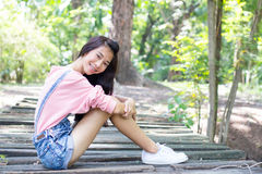 Teen beautiful girl pink shirt Denim Shorts Royalty Free Stock Images