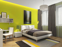 Teen bedroom. Teenage room with a bed, a Desk. The green wall behind the bed Stock Photography