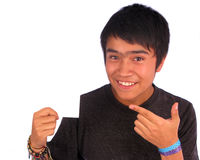 Teen  Behind White Placard Stock Photos