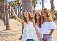 Teen best friends girls group shooting selfie. Photo smartphone in palm trees beach Royalty Free Stock Images