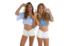 Teen best friends girls happy together Stock Images