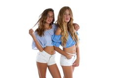 Teen best friends girls happy together royalty free stock images