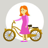 Teen with bicycle Royalty Free Stock Photo