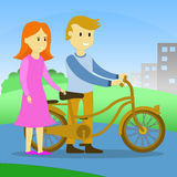 Teen with bicycle Royalty Free Stock Images
