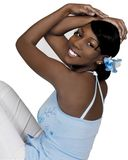 Teen Black Female. Teen high school girl posed for a shoot for a pageant Royalty Free Stock Photography