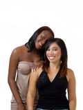 Teen black and hispanic girls double portrait Royalty Free Stock Photos