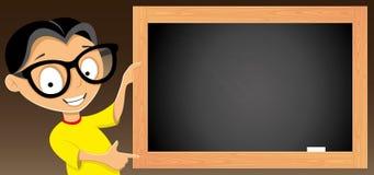 Teen and blackboard. Stock Photos