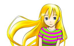 Teen blonde anime girl. Illustration smiling teen anime girl with blonde hair, in a striped T-shirt Royalty Free Stock Photos