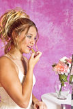 Teen Blonde Girl - Party Dress - Sits at Vanity Royalty Free Stock Photo