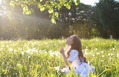 Teen blowing seeds from a dandelion flower in a spring park. A teen blowing seeds from a dandelion flower in a spring park Stock Photography