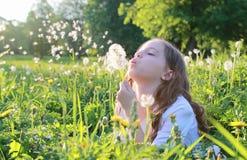 Teen blowing seeds from a dandelion flower in a spring park. A teen blowing seeds from a dandelion flower in a spring park Stock Photo