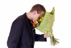 Teen with bouquet of flowers Royalty Free Stock Photo