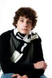 Teen boy. Isolated teen boy looking serious Royalty Free Stock Photo