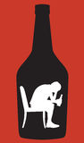 Teen Boy Alcoholic Silhouette. Silhouette of a teen boy in profile sitting in a chair with a beer bottle in his hand Royalty Free Stock Images