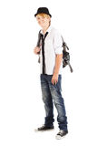 Teen boy with backpack Royalty Free Stock Photography