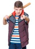 Teen boy with baseball bat Royalty Free Stock Photo