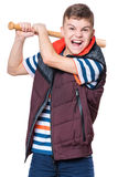 Teen boy with baseball bat. Portrait of a angry teen boy holding a baseball bat and screaming. Funny hooligan child looking at camera,  on white background Royalty Free Stock Photos