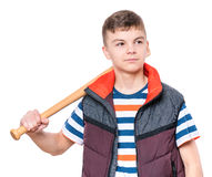 Teen boy with baseball bat. Portrait of a handsome boy teenager holding baseball bat. Funny cute smiling child looking away,  on white background Stock Image