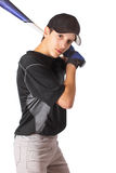 Teen Boy Batting Royalty Free Stock Photo