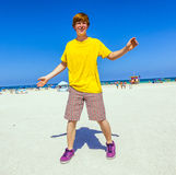 Teen boy at the beach im South Miami, Florida Royalty Free Stock Image