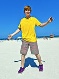 Teen boy at the beach in South Miami Stock Photo