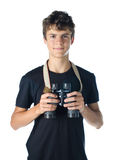 Teen boy with binocular Stock Images