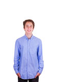 Teen boy in blue shirt Royalty Free Stock Image