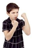 Teen boy boxer trains defence Stock Photos