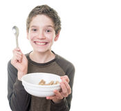 Teen Boy with Breakfast Cereal stock photo