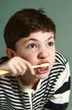 Teen boy brushing his teath. Neat boy Stock Image