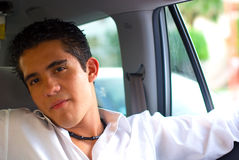 Teen boy in car. Teen boy traveling in car Royalty Free Stock Images